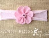 Felt Flower Headband - Pink on Soft Pink Jersey