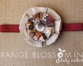 Fabric Flower Headband -Fall Colors on Burgundy Elastic