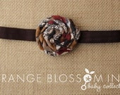 Fabric Flower Rosette Headband - Fall Colors on Chocolate Brown Elastic