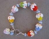 Cupcake Confetti---Lampwork Beads Bracelet