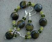 RESERVED FOR ADRIENNE---Olive Branch---Tiger's Eye and Jade Bracelet Set