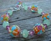 RESERVED FOR MARICAR---Sticky Lollipop---Lampwork Beads Bracelet