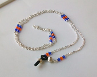Blue and Orange Czech Crystal Eyeglass Chain - Leash - Lanyard