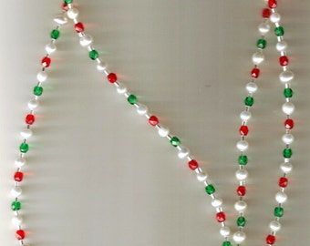 Christmas Red and Green Czech Crystal and FW Pearl Badge Holder Lanyard