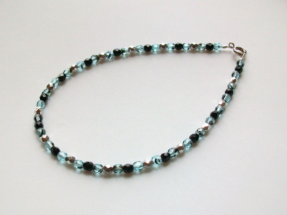 Turquoise, Black and Silver Czech Crystal Anklet - 10.5 Inch