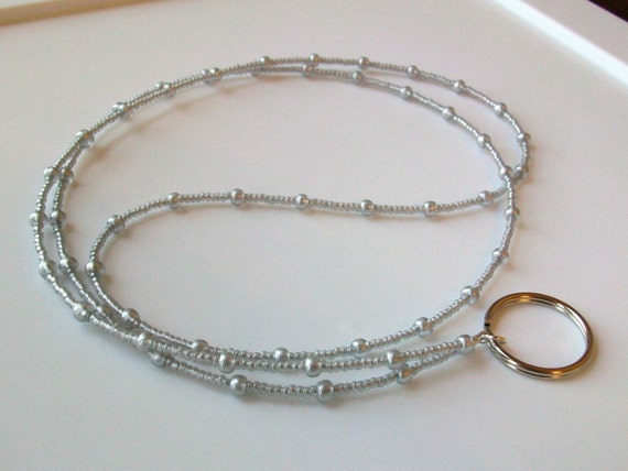Silky Silver Glass Bead ID Badge Holder / Lanyard with Ring