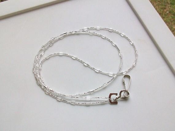 Silver Rectangle Beaded Badge Holder Lanyard