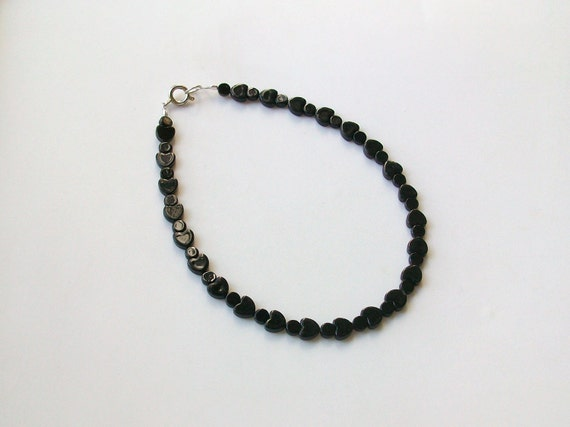 Blackstone Heart and Coin Gemstone Anklet