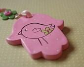 Pink  bird hamsa - baby girl's nursery wall hanging