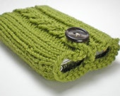 iPhone case, iPod case, or camera case - Hand knitted, wool case in Olive Green