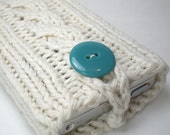 Cream iPhone case, Off white iPod case, Knitted camera case