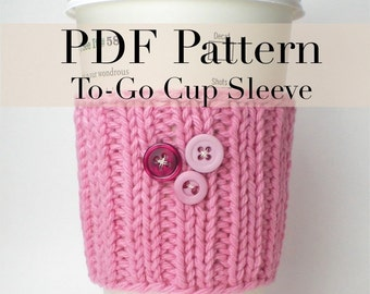 PDF Knitting Pattern - Coffee Cup Cozy / Coffee cup sleeve 1  (with permission to sell finished item)