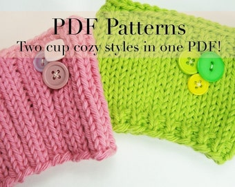 2 styles in 1 pattern - PDF Knitting Pattern - Coffee Cup Cozies / Coffee Cup Sleeves  (with permission to sell finished item)