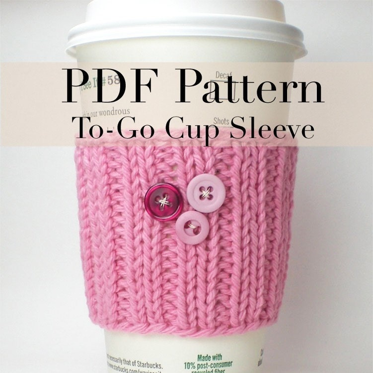 PDF Knitting Pattern Coffee Cup Cozy / Coffee cup by onaroll