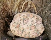 Vintage Pastel Tapestry Rose Handbag Carpet Bag Floral Pattern Purse Garay