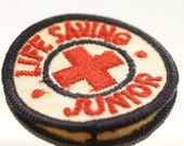 Pair Red Cross Junior Life Saver Patches Vintage Sewing or Art Supplies