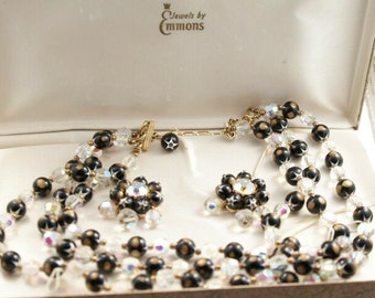 Vintage Emmons Demi Parure Necklace Earring Set Convertible Black Crystal Necklace