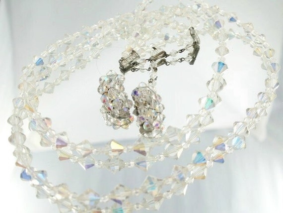 Crystal Vintage Aurora Borealis Demi Parure Necklace & Earring Set Wedding Bridal Formal