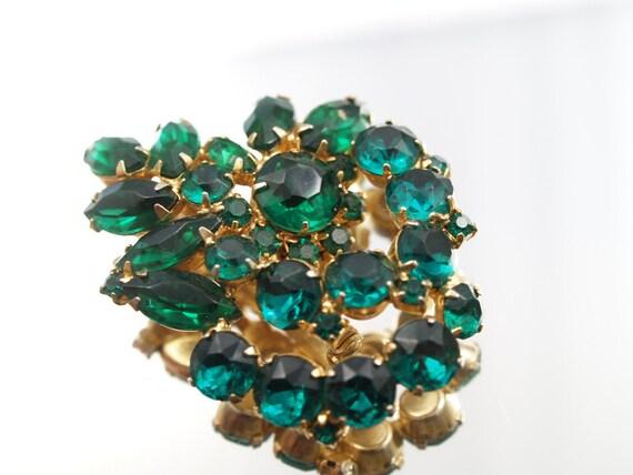 Vintage Emerald Green Rhinestone Brooch  Spray Broach Wedding Bridal Formal