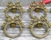 Set of 8 Antique Brass Ring Pulls