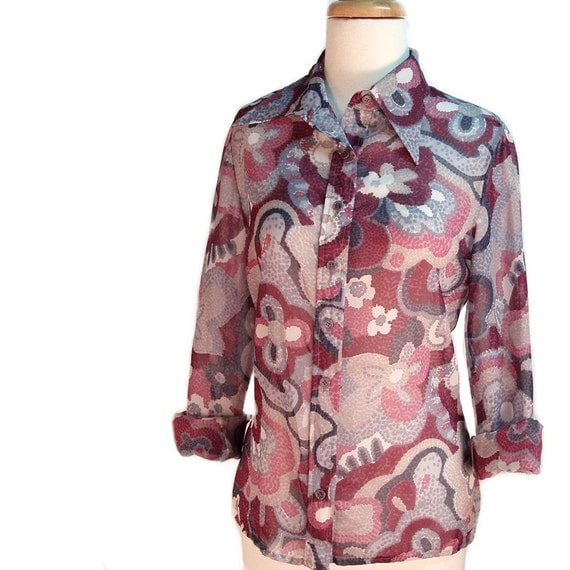 Reserve for  Harley  Violet Rain Drops Groovy Blouse - Semi Sheer 70s Vintage - size Medium