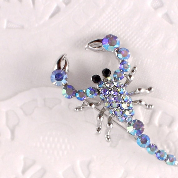 Rhinestone Pin - Iridescent Blue Scorpio - Deadstock - New Old Store Stock