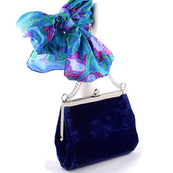 Vintage Velvet Evening Bag - Blue Velvet Royal Purse - with Art Deco Turquoise Scarf