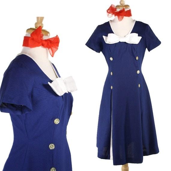 Vintage Dress - Sailor Pin Up Girl Cheerleader Style Dress - size Small to Medium