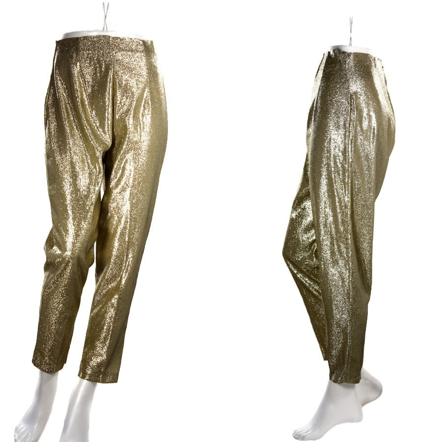 You searched for: gold lame pants. Good news! Etsy has thousands of handcrafted and vintage products that perfectly fit what you're searching for. Discover all the extraordinary items our community of craftspeople have to offer and find the perfect gift for your loved one (or yourself!) today.