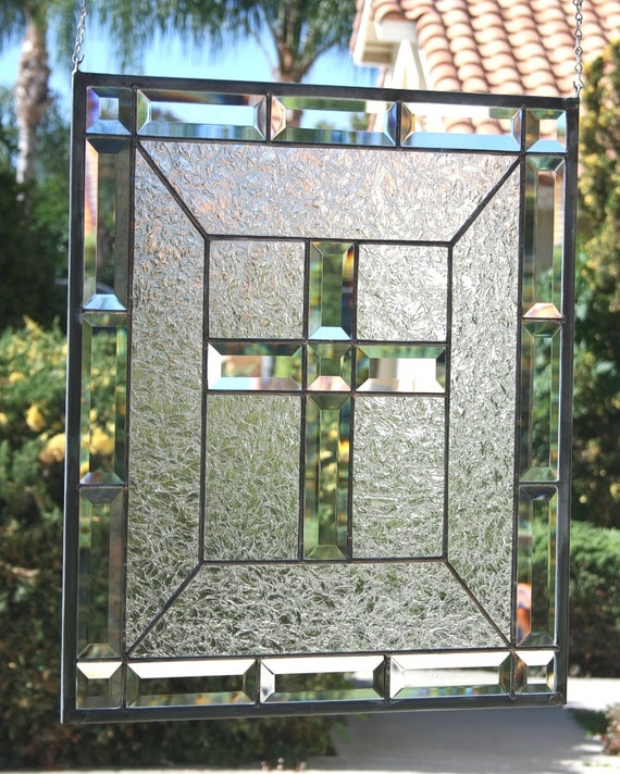 CLEAR CROSS - Contemporary Stained Glass Window Panel with Beveled Cross