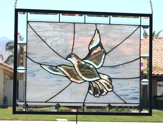 PEACE  -  Large Beveled Stained Glass Window Panel with Clear Beveled Dove