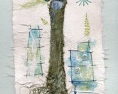 Textile Art, Silk Ribbon, Hand Stitching, Blue and Green - The Tree and the City