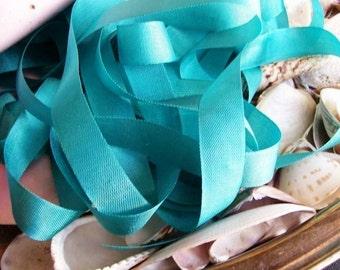 Vintage- Seam Binding--Aqua-Shabby-Ribbon