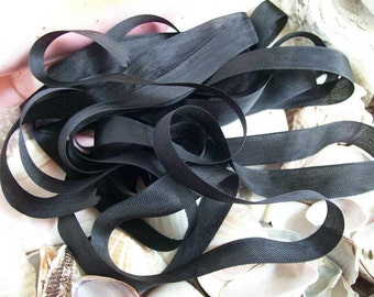 Vintage- Seam Binding-  Black-Silky-Ribbon