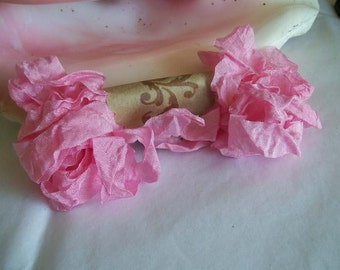 Vintage- Seam Binding- Crinkled- Siam Pink-Silky-Shabby-Scrunched