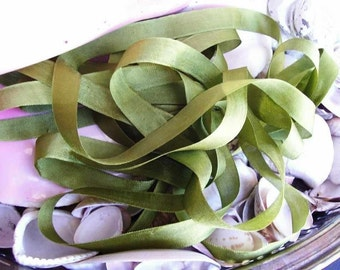Vintage Seam Binding -Olive Green-Silky-Ribbon