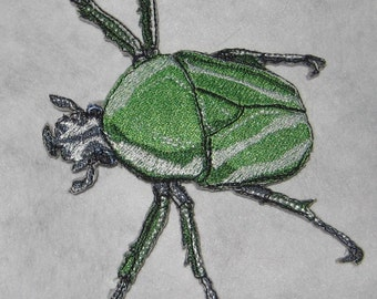 "Green African Flower Scarab Beetle "" Dicronorhina derbyana layardi "" Steam Punk  Iron on Patch"