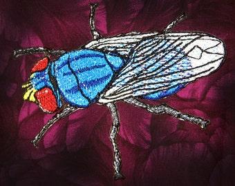 "Epic  Blue Blow fly Flesh fly "" Cochliomyia macellaria "" Steam Punk Iron on Patch"