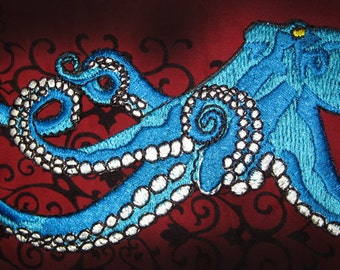 Huge Giant Octopus Octopie Jacket Back Iron on Patch Ocean Teal  with Golden eyes ready to ship