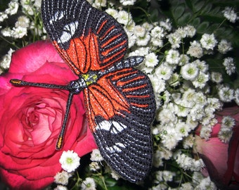Lovely life Sized  Red Passion Flower Butterfly Heliconius Erato Insect  Steam Punk Iron on Patch