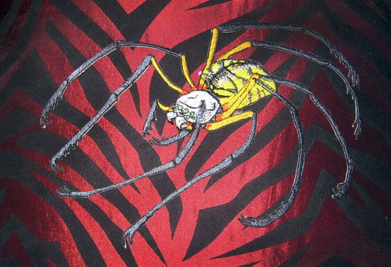 Golden Writing Orb Weaver Spider Argiope aurantia  Gothic Steam Punk  Iron on Patch