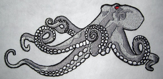 Huge Giant Octopus Octopie Jacket Back Iron on Patch Robot Silver ruby eyes ready to ship