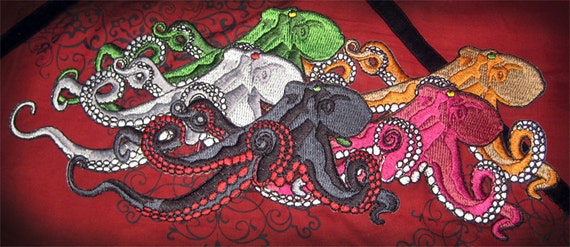 HUge Giant Octopus Octopie Jacket Back Iron on Patch Many Color Options