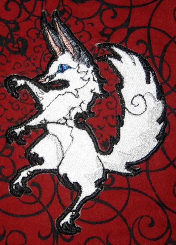Epic Medieval Renascence White Arctic Fox Crest Heraldic Heraldry  Iron on Patch