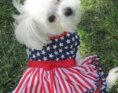 Stars and Stripes Patriotic 4th July Holiday Dog Dress