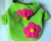 Green Fleece Dog Hoody with Pink Flower Applique Yorkie Maltese Chihuahua