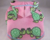 Etsy Hoodies for Small Dogs in Pink Fleece with Turtle Print