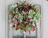 Colorful Christmas Rag Wreath with Riley Blake Fabric and Ornaments