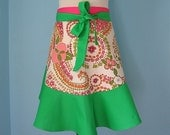 Garden Party with Pink and Green Flowers - Half Apron for Women