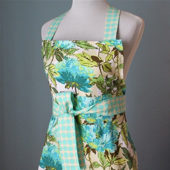 Blue Floral Full Apron Retro Hostess Entertaining with Amy Butler Fabric